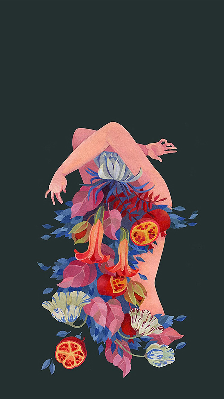纯色背景 个性插画 裸体 鲜花 苹果手机高清壁纸 750x