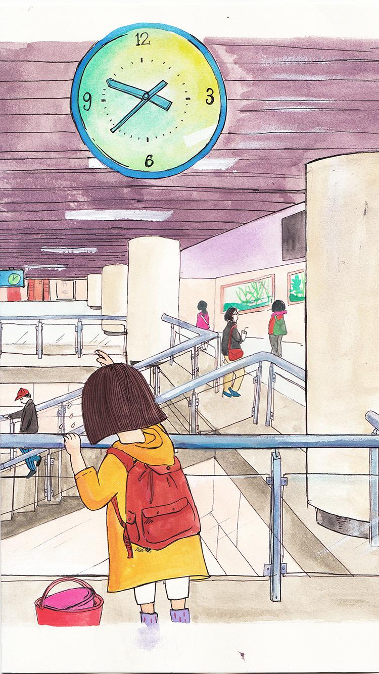 手绘插画 小女孩 背影 红书包 时钟 苹果手机高清壁纸