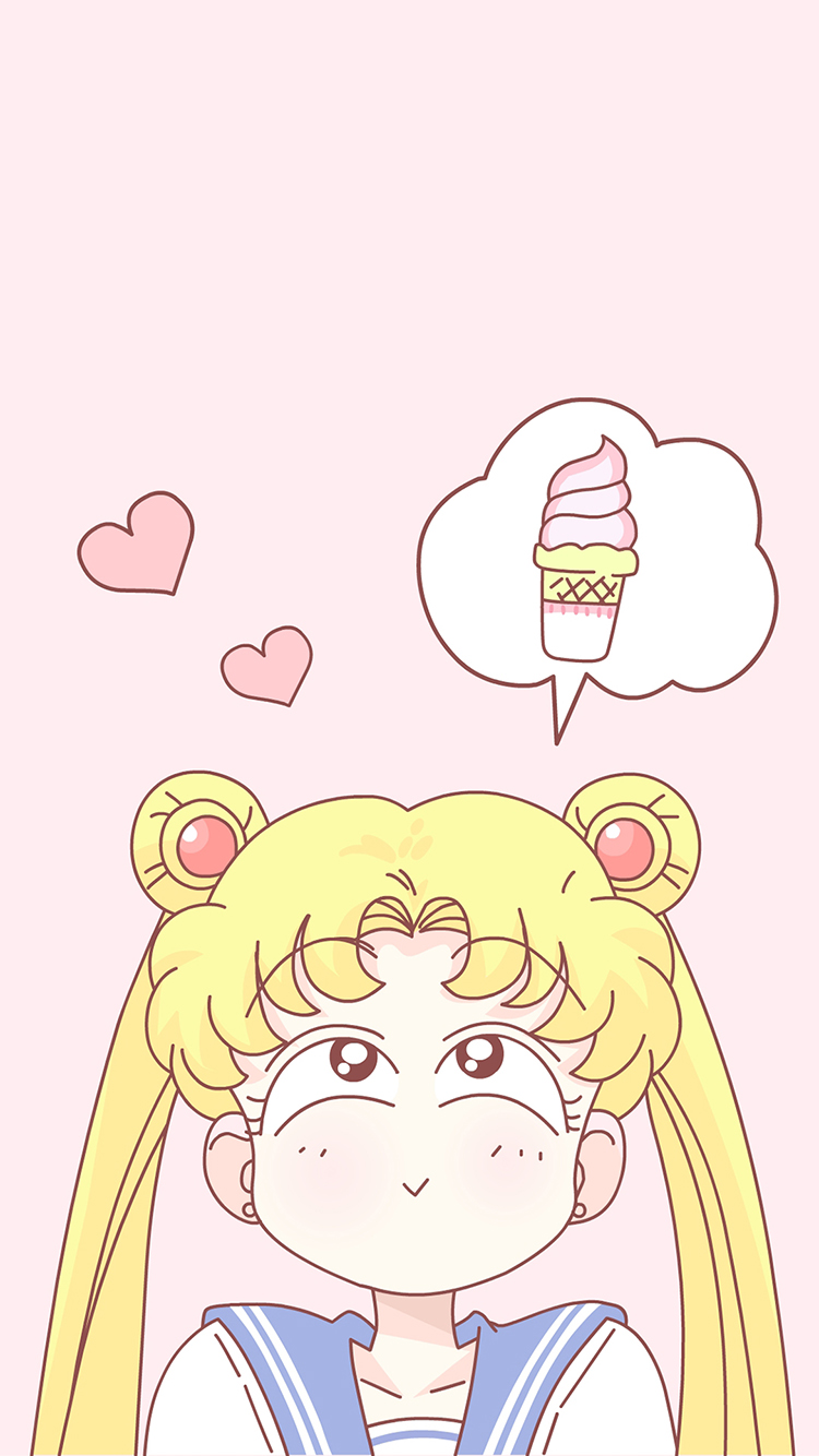 美少女战士 粉色 动画 冰淇淋 爱心 苹果手机高清壁纸