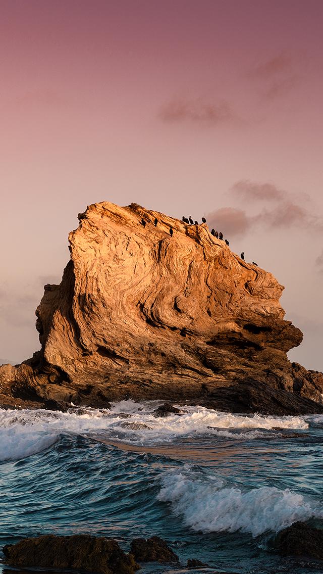 海岸 礁石 海浪 夕阳 苹果手机高清壁纸 640x1136