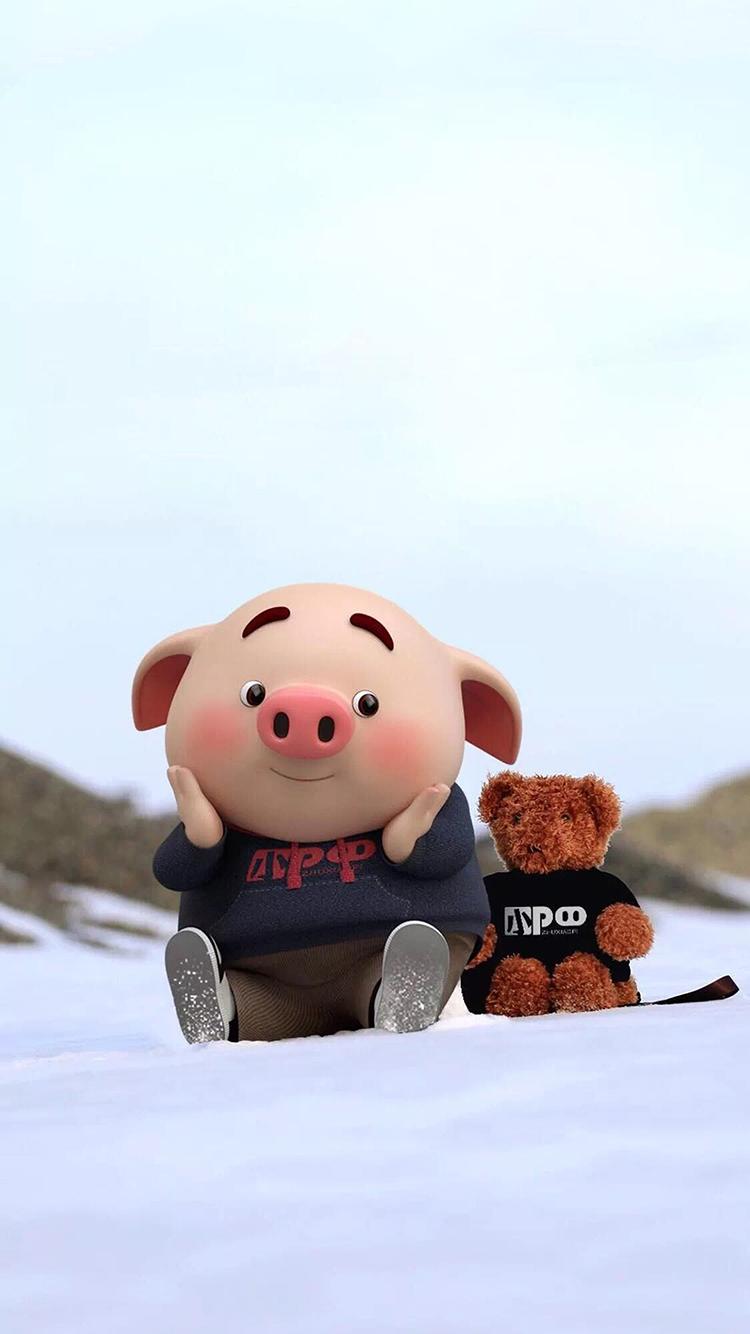 猪小屁 雪地 可爱 动画 小熊娃娃 苹果手机高清壁纸 x