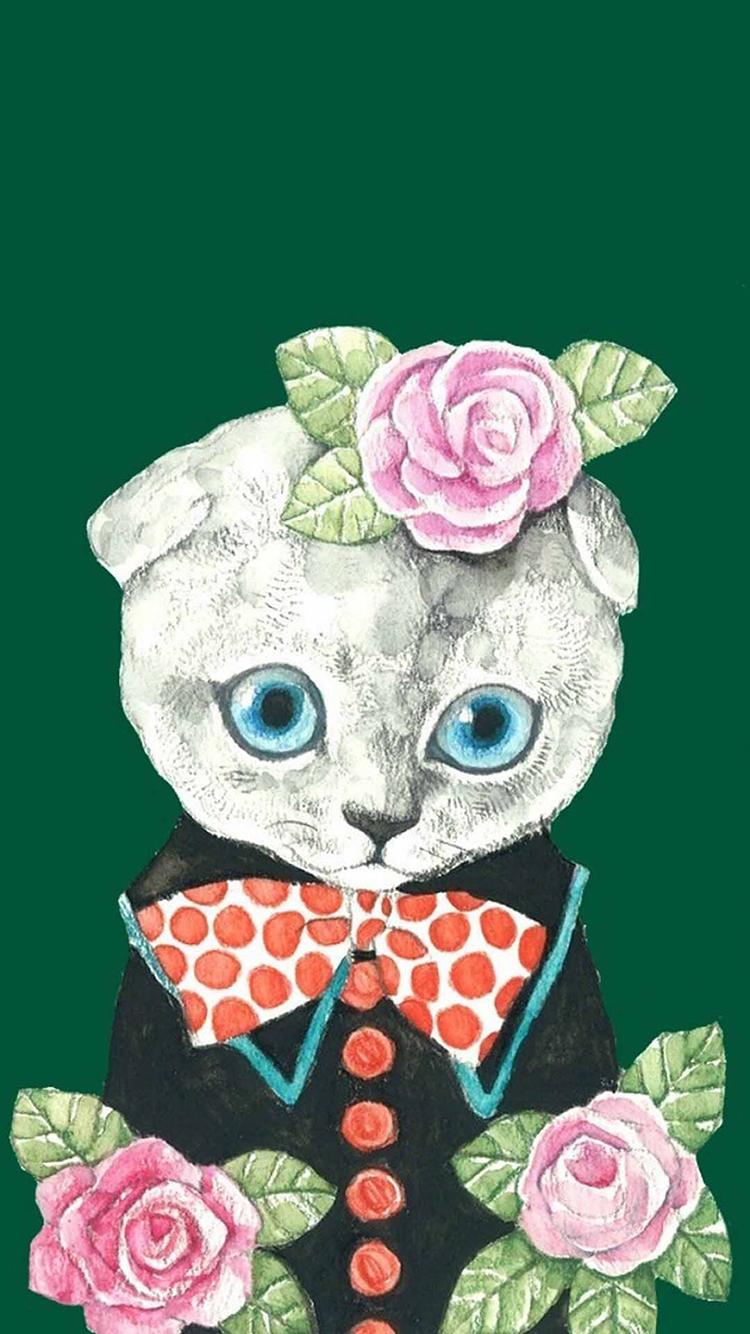 手绘 情侣猫咪 女 苹果手机高清壁纸 750x1334 - 足球