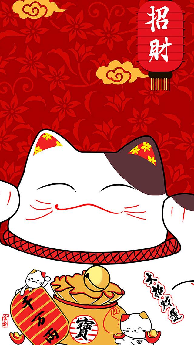 招财猫 红色 祥云 宝 大招财运 苹果手机高清壁纸 640