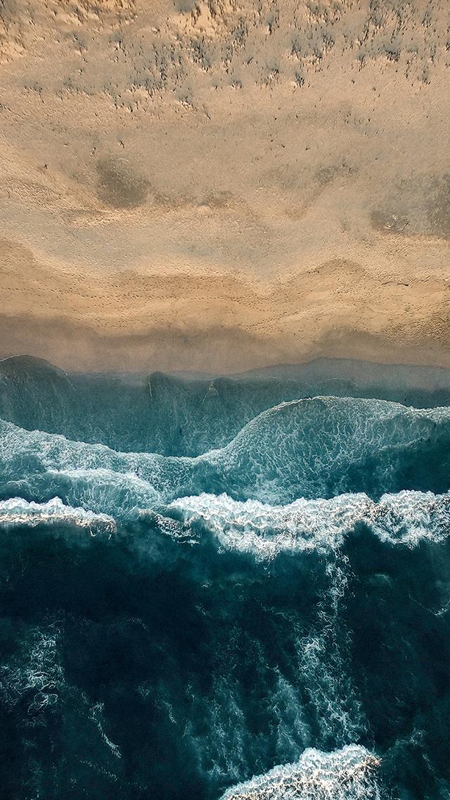 海岸 海浪 沙滩 浪花 苹果手机高清壁纸 640x1136