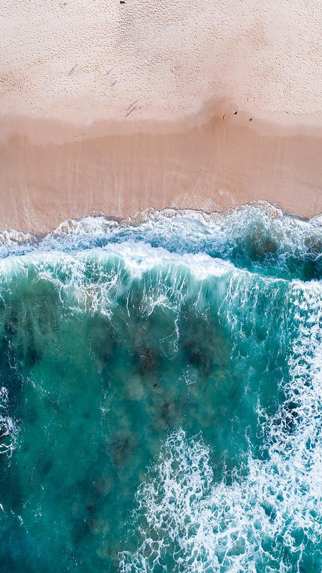 大海 海浪 俯拍 沙滩 苹果手机高清壁纸 640x1136