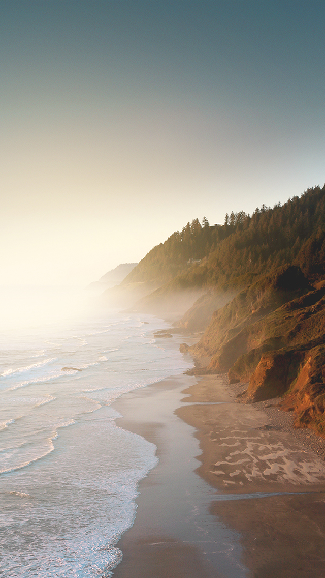 海边 海浪 烟雾 苹果手机高清壁纸 640x1136 - 足球