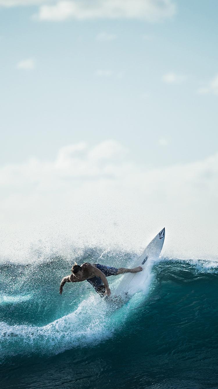 冲浪 极限 运动 海浪 大海 苹果手机高清壁纸 750x