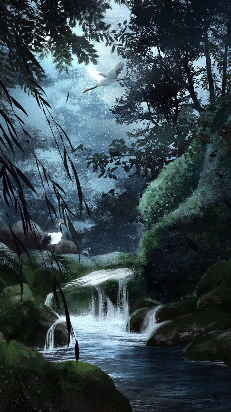 流水 古风 仙鹤 森林 丛林 苹果手机高清壁纸 750x