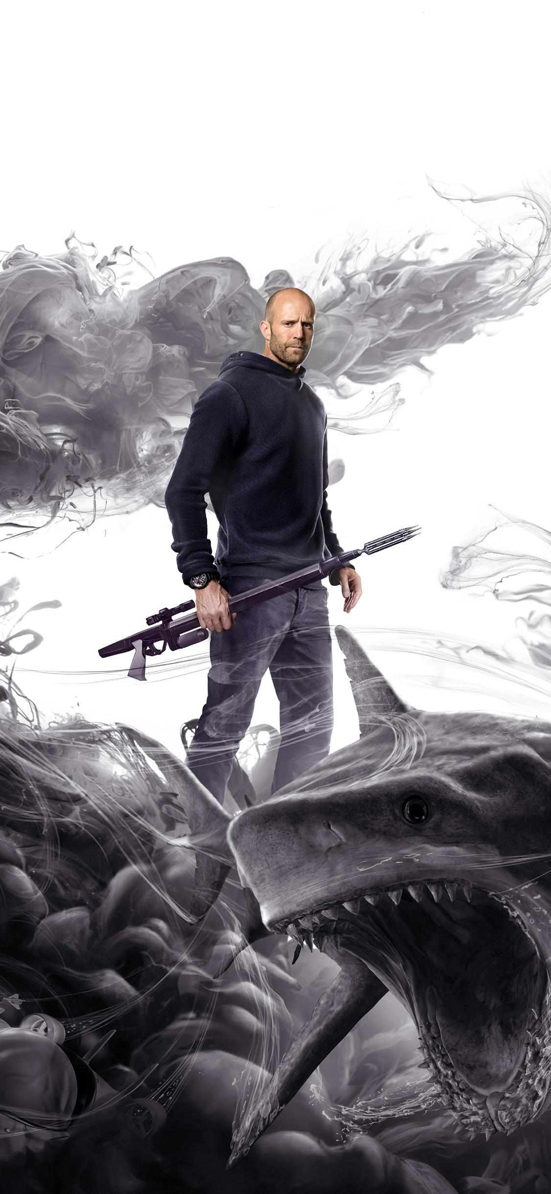 巨齿鲨 电影 海报 鲨鱼 杰森·斯坦森 水墨 苹果手机