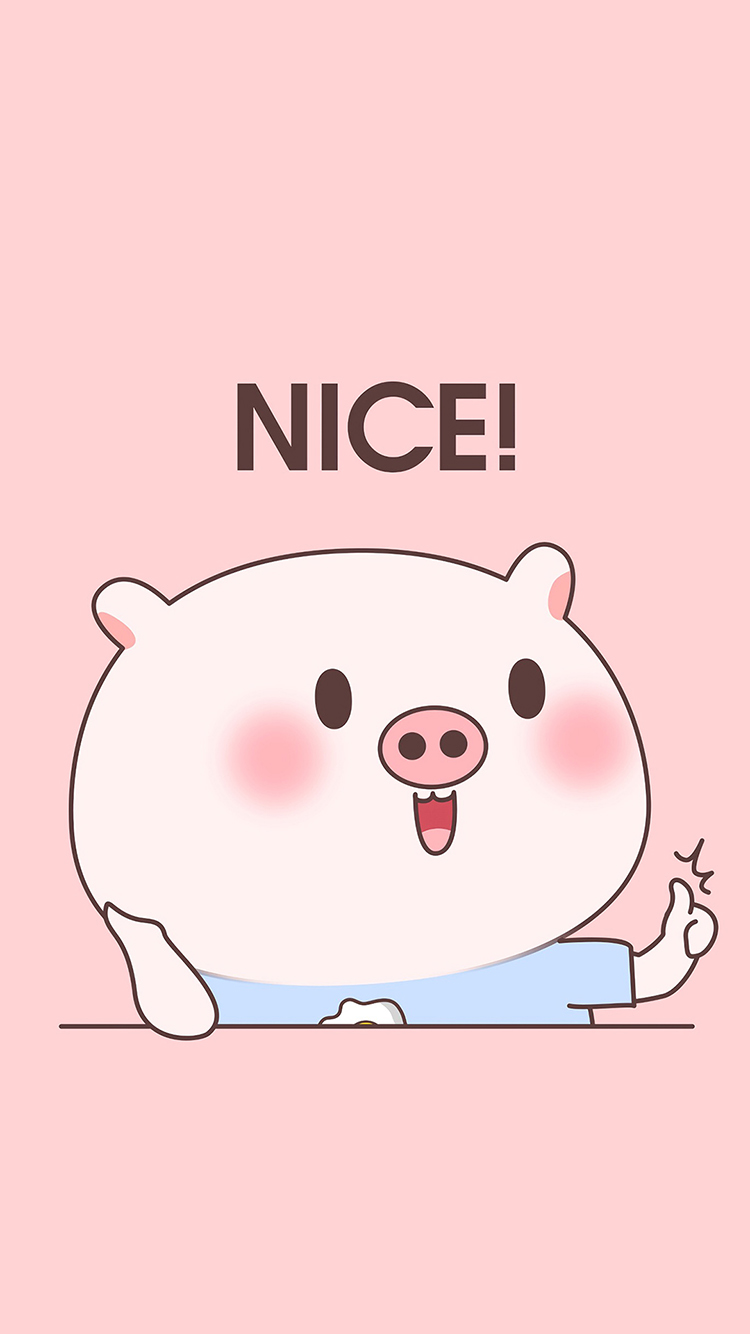 nice 好 粉色 猪 可爱 卡通 苹果手机高清壁纸 750x