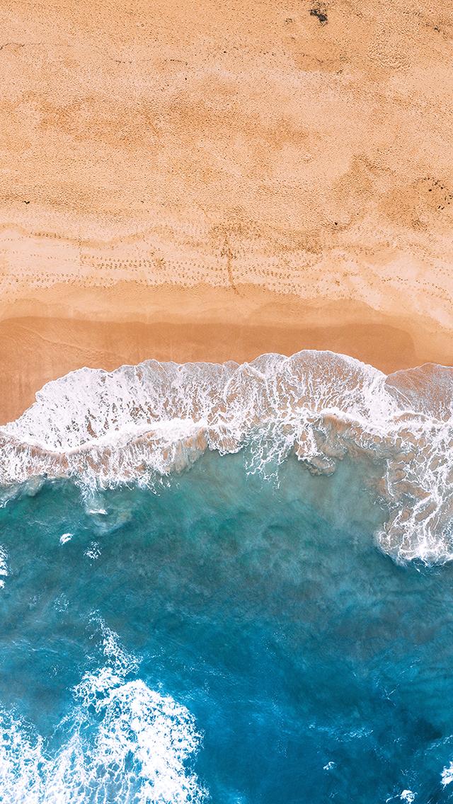 海浪 海水 沙滩 俯拍 苹果手机高清壁纸 640x1136