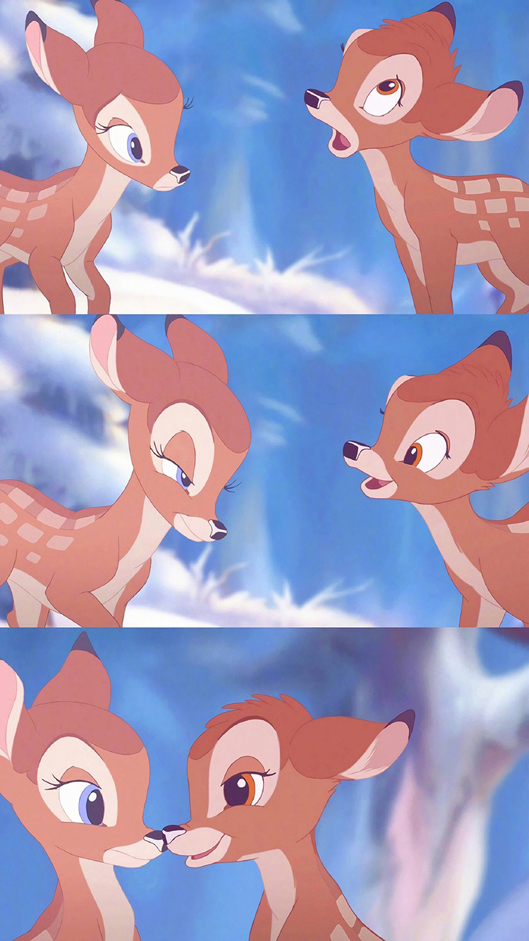 小鹿斑比 动画 卡通 可爱 梅花鹿 苹果手机高清壁纸 x