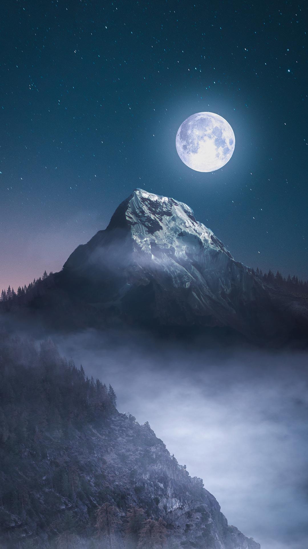 月光 月圆 夜晚 星空 山峰 苹果手机高清壁纸 1080x