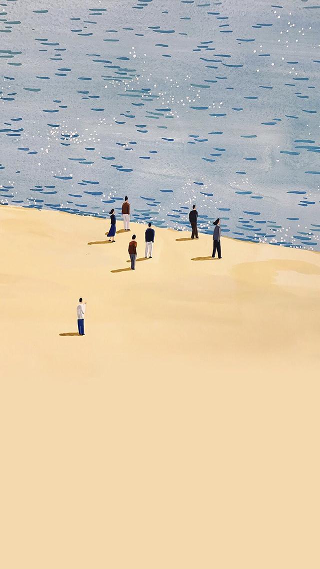 海滩 插画 人物 色彩 苹果手机高清壁纸 640x1136
