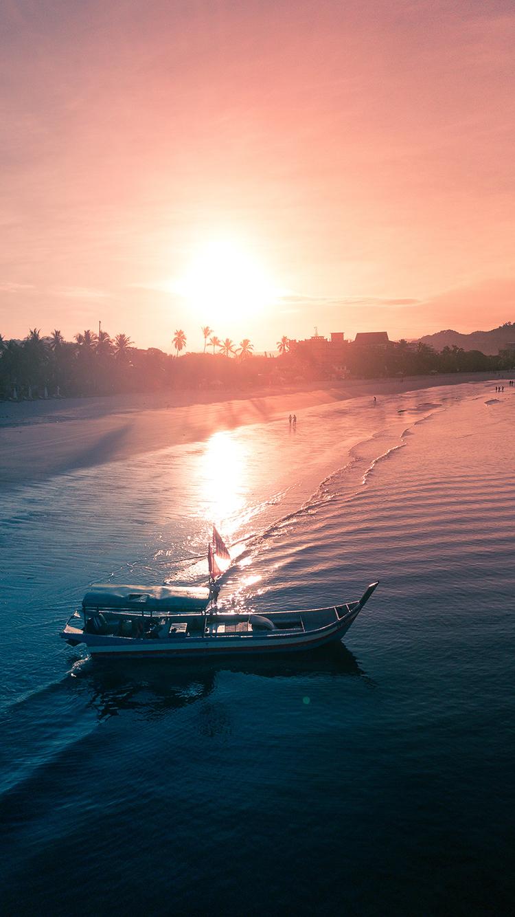 景色 夕阳 海岸 海浪 苹果手机高清壁纸 750x1334