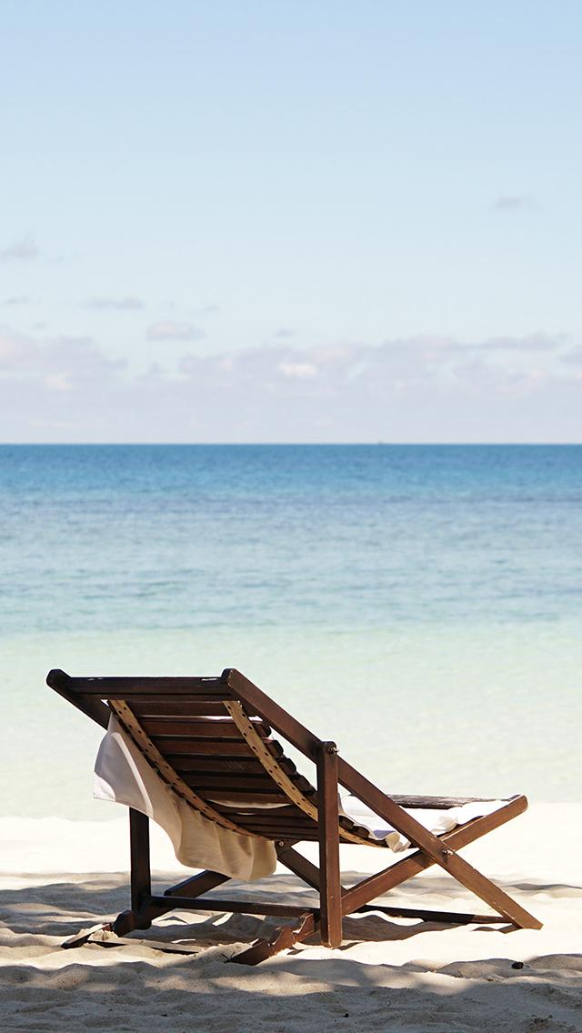 大海 海滩 躺椅 休闲 苹果手机高清壁纸 640x1136