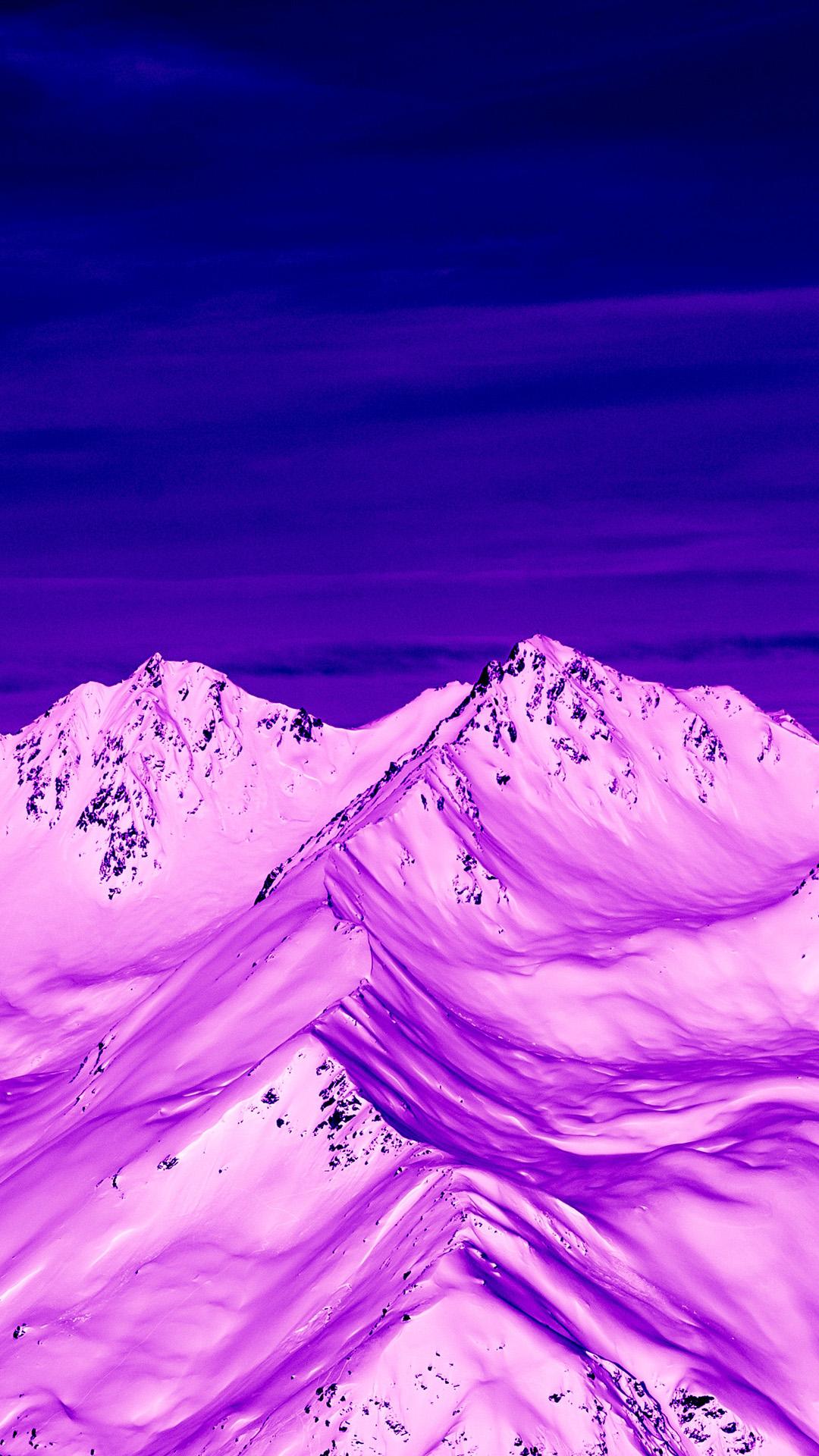 雪山 滤镜 紫色调 风景 苹果手机高清壁纸 1080x1920