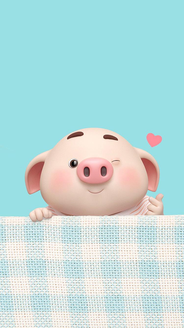 猪小屁 比心 爱心 蓝 苹果手机高清壁纸 750x1334