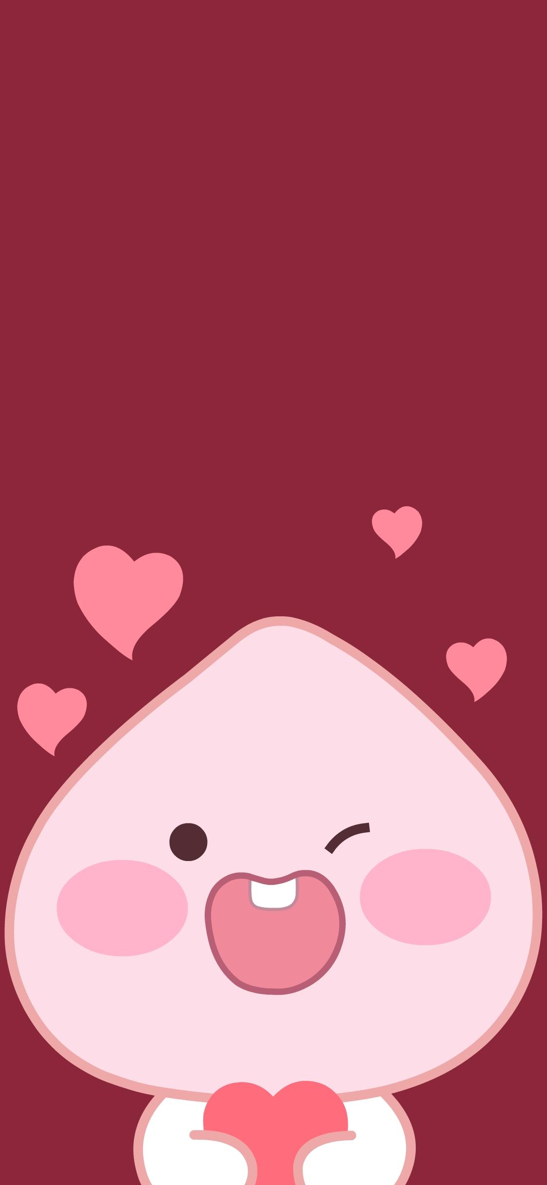 爱心 桃子 可爱 卡通 红色图片