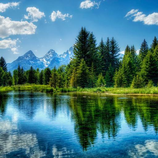 唯美 河流 干净 清澈 森林 高山 蓝天 白云 蓝色