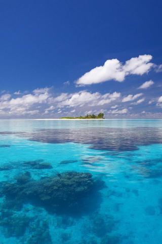 大海 蓝天白云 孤岛 小岛