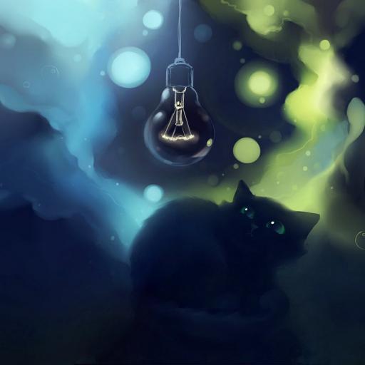 猫 插画 魔幻 哥特 蓝色
