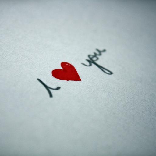 手写 文字 I love you 小红心