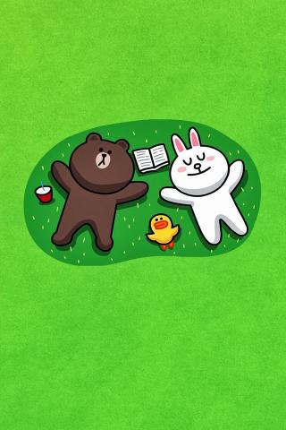 Line 可爱 卡通 表情 熊大 兔兔 动漫 绿色