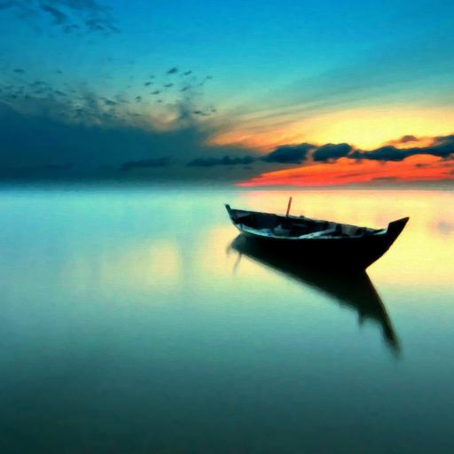 湖水 宁静 小船 孤舟 其他 蓝色