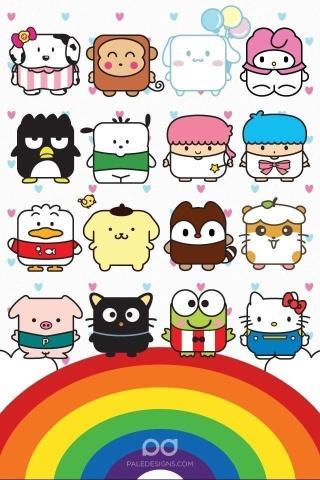 可爱彩虹动物卡通