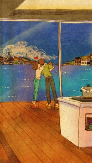 爱情 情侣 浪漫 插画 漫画