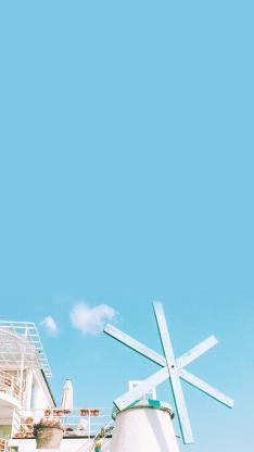 清新风 天空 风车