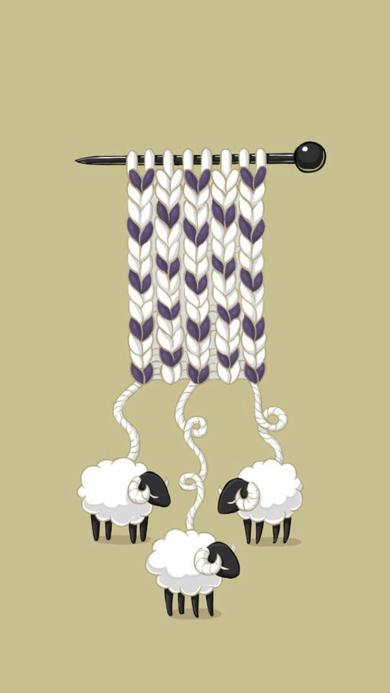 羊 卡通 可爱 织围巾