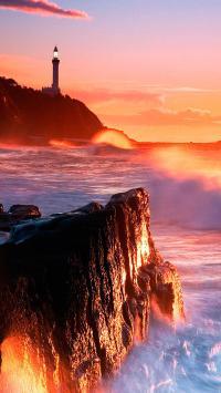 落日 灯塔 海岸