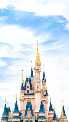 蓝天 白云 迪士尼城堡 建筑 童年 欢乐 童话