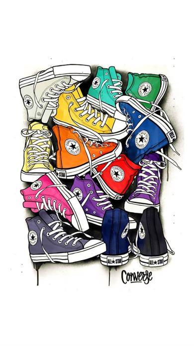 手绘 各种颜色的匡威鞋