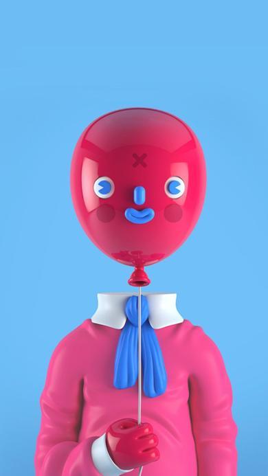 气球 人形 蓝色 红色