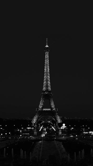 埃菲尔铁塔 巴黎 夜景 黑白