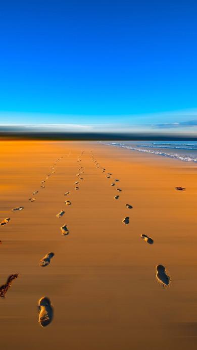沙滩 脚印 蓝天 大海