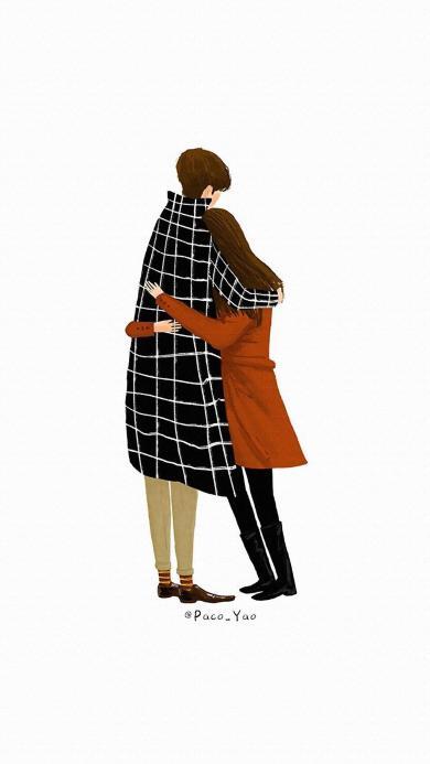 爱情 情侣 拥抱 格子