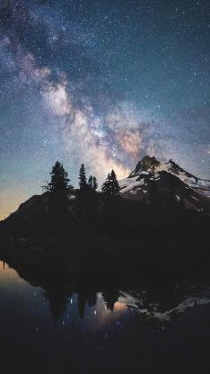 银河 星星 倒影 风景 彩色