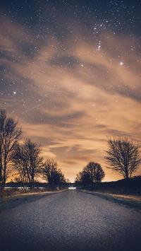 星空 公路 夜景 火烧云 橙色