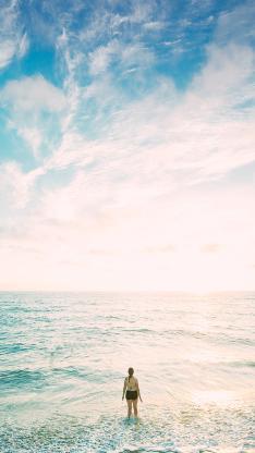 海滩 地平线 自然 海洋 户外 沙 海 海景 海滨 天空 水 女子