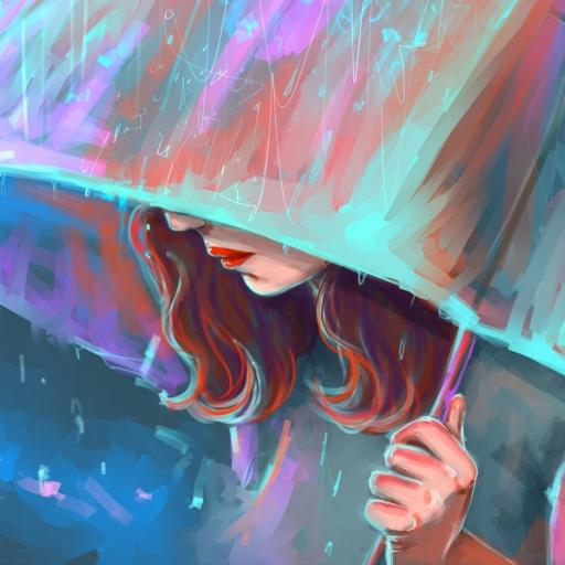 插画 手绘 色彩 撑伞 女孩 雨