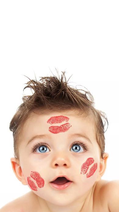 萌娃 欧美 可爱 唇印 蓝眼睛