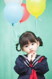 萌娃 水手服 气球 辫子
