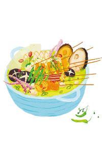 麻辣烫 串串 手绘 美食 插画