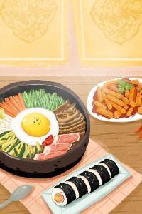 石锅拌饭 手绘 紫菜包饭 美食