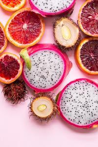 水果 柠檬 火龙果 平铺 红色