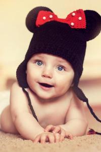 萌娃 大眼 可爱 宝宝 孩子米奇帽